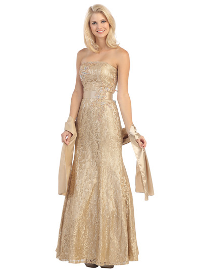 E2705 Strapless Lace Overlay Evening Dress with Sash - Gold, Front View Medium
