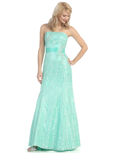 E2705 Strapless Lace Overlay Evening Dress with Sash - Mint, Front View Medium