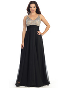 Empire Waist Sparkling Bodice A-line Evening Dress