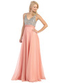 E2727 Empire Waist Sparkling Bodice A-line Evening Dress - Coral, Front View Thumbnail