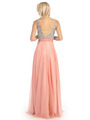 E2727 Empire Waist Sparkling Bodice A-line Evening Dress - Coral, Back View Thumbnail