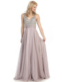 E2727 Empire Waist Sparkling Bodice A-line Evening Dress - Victorian Lilac, Front View Thumbnail