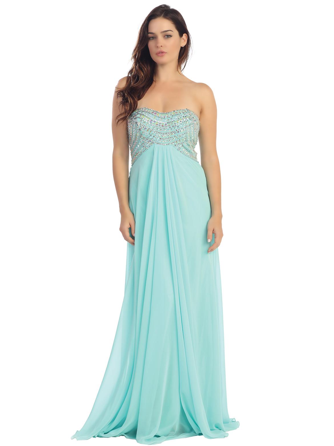 Empire Waist Strapless Embellished Bodice Prom Dress | Sung ...