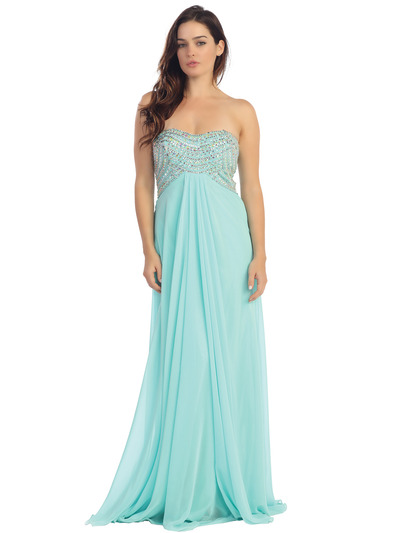 E2728 Empire Waist Strapless Embellished Bodice Prom Dress - Mint, Front View Medium