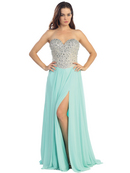 Sweetheart Neckline Jewel Bodice Chiffon Evening Dress