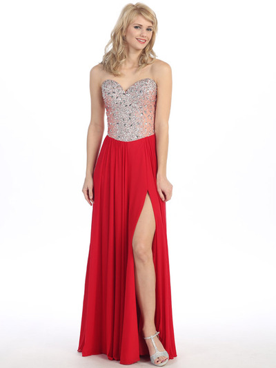 E3006 Sweetheart Neckline Jewel Bodice Chiffon Evening Dress - Red, Front View Medium