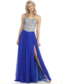 E3006 Sweetheart Neckline Jewel Bodice Chiffon Evening Dress - Royal Blue, Front View Thumbnail