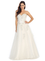 E3010 A Floral Satin Top Sweetheart Neckline Ball Gown - Off White, Front View Thumbnail