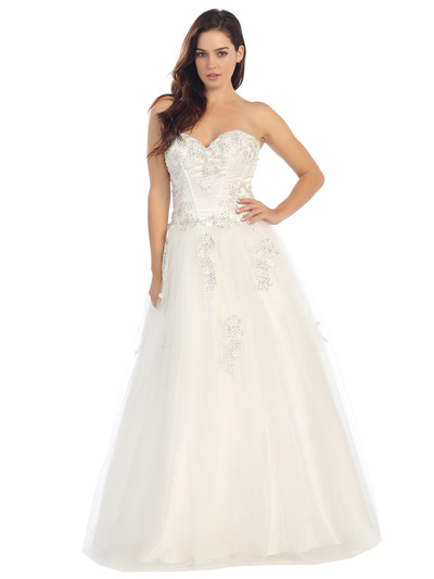 E3010 A Floral Satin Top Sweetheart Neckline Ball Gown - Off White, Front View Medium