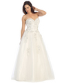 E3010 A Floral Satin Top Sweetheart Neckline Ball Gown - Off White, Alt View Thumbnail