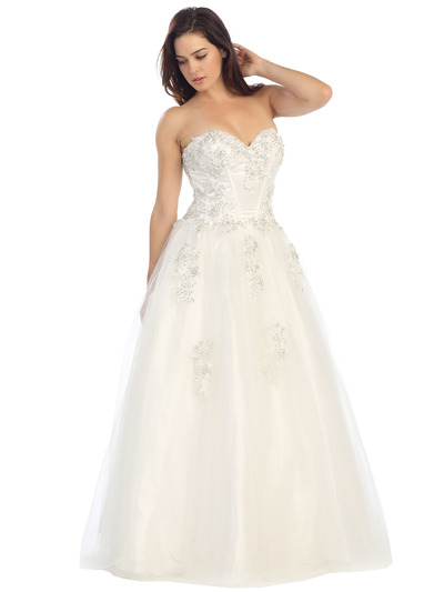 E3010 A Floral Satin Top Sweetheart Neckline Ball Gown - Off White, Alt View Medium