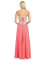 E3016 Embellished Strapless Chiffon Gown - Coral, Back View Thumbnail