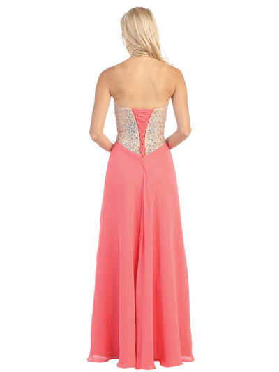 E3016 Embellished Strapless Chiffon Gown - Coral, Back View Medium