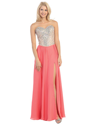 E3016 Embellished Strapless Chiffon Gown, Coral