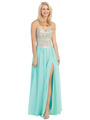 E3016 Embellished Strapless Chiffon Gown - Mint, Front View Thumbnail