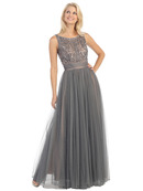 Beaded Overlay Two Tone Evening Gown