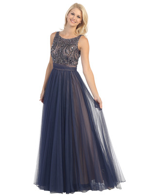 E3017 Beaded Overlay Two Tone Evening Gown, Navy Nude