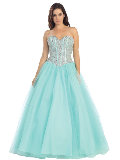 E3020 Fairy Tales Sparkling Bodice Princess Gown - Mint, Front View Medium
