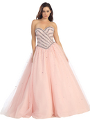 Sweetheart Beaded Top Sparkling Ball Gown with Lace Bolero