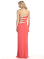 E3101 Embellished Strapless Gown with Side Cutout - Coral, Back View Thumbnail