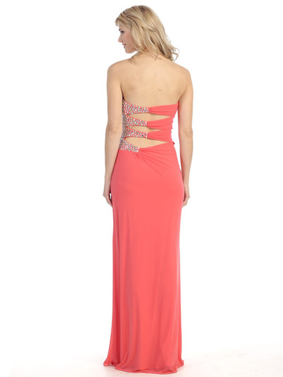 E3101 Embellished Strapless Gown with Side Cutout - Coral, Back View Medium