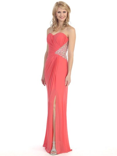 E3101 Embellished Strapless Gown with Side Cutout - Coral, Front View Medium