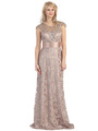 E3200 Lace Overlay Cap Sleeve Evening Dress with Sash - Mocha, Front View Thumbnail