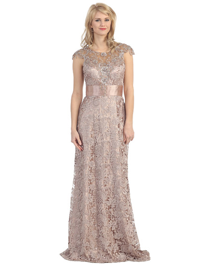 E3200 Lace Overlay Cap Sleeve Evening Dress with Sash - Mocha, Front View Medium