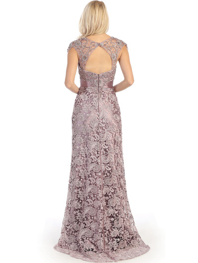 E3200 Lace Overlay Cap Sleeve Evening Dress with Sash - Victorian Lilac, Back View Medium
