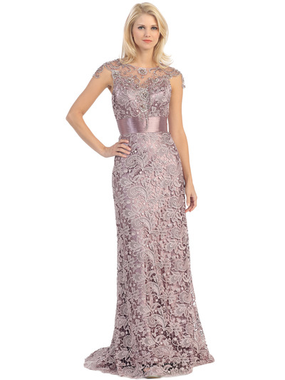 E3200 Lace Overlay Cap Sleeve Evening Dress with Sash - Victorian Lilac, Front View Medium