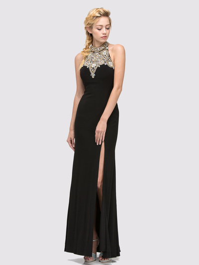 E4010 Halter Neck  Jewels Illusion Evening Dress with Slit - Black, Front View Medium