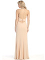 E4010 Halter Neck  Jewels Illusion Evening Dress with Slit - Champagne, Back View Thumbnail