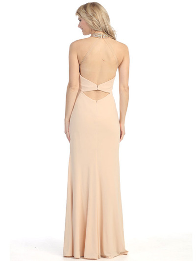 E4010 Halter Neck  Jewels Illusion Evening Dress with Slit - Champagne, Back View Medium