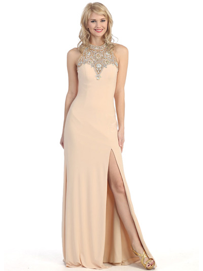 E4010 Halter Neck  Jewels Illusion Evening Dress with Slit - Champagne, Front View Medium