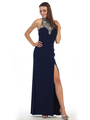 E4010 Halter Neck  Jewels Illusion Evening Dress with Slit - Navy, Front View Thumbnail