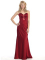 E4015 Sweetheart Illusion Long Evening Dress - Burgundy, Front View Thumbnail