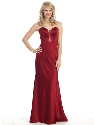 E4015 Sweetheart Illusion Long Evening Dress, Burgundy