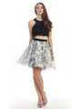 E4200 Two Piece Floral Print Short Prom Dress - Black Ivory, Front View Thumbnail