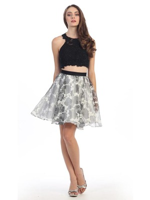 E4200 Two Piece Floral Print Short Prom Dress, Black Ivory