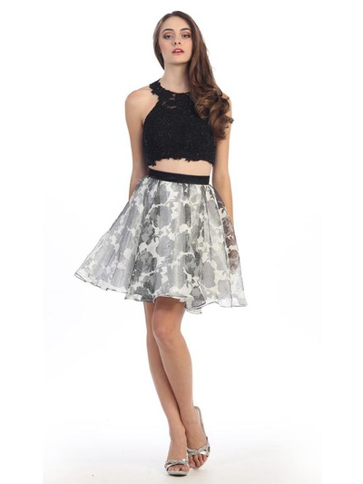 E4200 Two Piece Floral Print Short Prom Dress - Black Ivory, Front View Medium