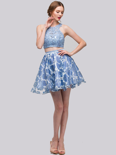 E4200 Two Piece Floral Print Short Prom Dress - Sky Blue, Front View Medium