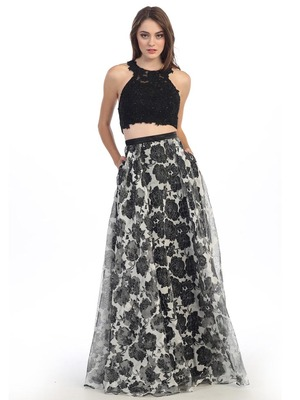 E4222 Two Piece Floral Print Prom Dress, Black Black