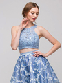 E4222 Two Piece Floral Print Prom Dress - Silver Blue, Front View Thumbnail