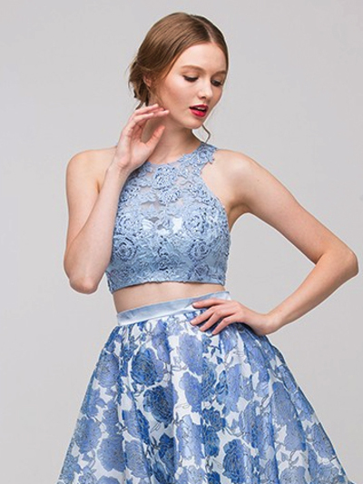 E4222 Two Piece Floral Print Prom Dress - Silver Blue, Front View Medium