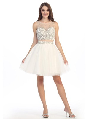E4777 Illusion Sweetheart Short Prom Dress, Ivory
