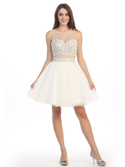 E4777 Illusion Sweetheart Short Prom Dress - Ivory, Front View Medium