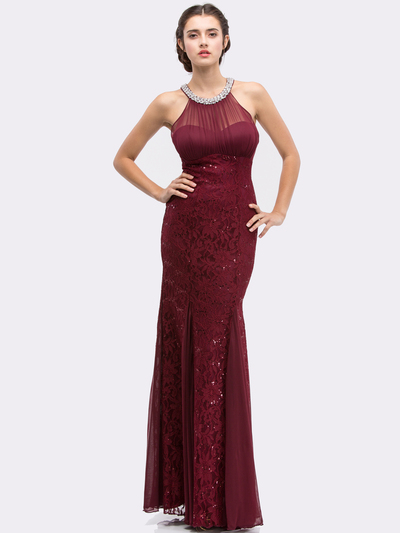 E5030 Jeweled Halter Evening Dress - Burgundy, Front View Medium