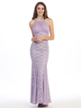 E5030 Jeweled Halter Evening Dress - Lilac, Front View Thumbnail