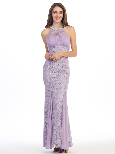 E5030 Jeweled Halter Evening Dress - Lilac, Front View Medium