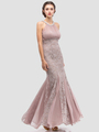 E5030 Jeweled Halter Evening Dress - Mocha, Front View Thumbnail